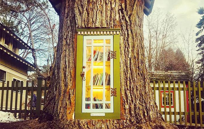 δανειστική βιβλιοθήκη σε ένα δέντρο