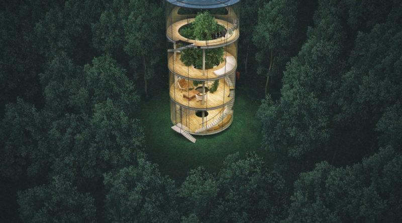 ένα σπίτι γύρω από ένα δέντρο