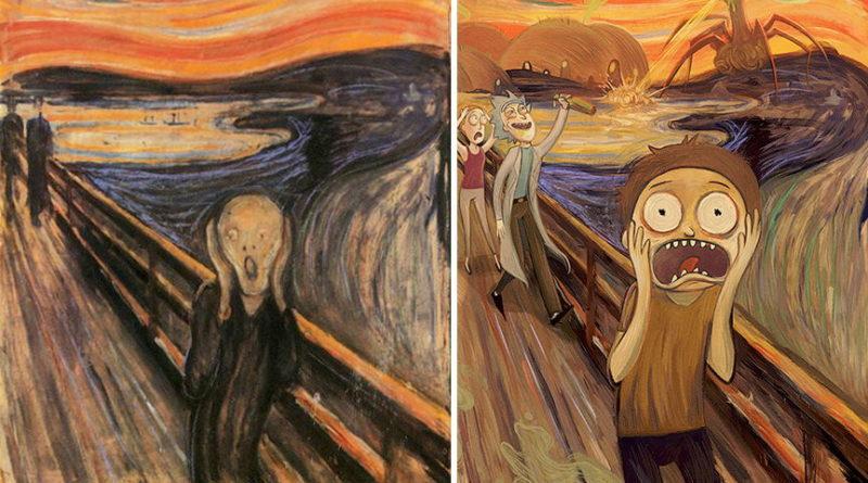 παραλλαγή πίνακα scream με τον rick and morty