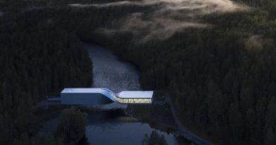 φουτουριστική γέφυρα στο Kistefos